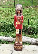 John Gallagher Carved Wooden Cigar Store Indian Statue 6 Ft. Red Coat Bear