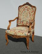 Vintage French Louis Ornately Carved Needlepoint Tapestry Accent Chair