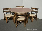 Vintage Ficks Reed Style French Country Bamboo Card Table W Four Chairs Mid Cent