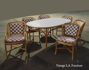 Vintage Mid Century Bamboo Rattan Dining Table And Six Chairs Set