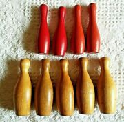 Vintage Antique 1930s Wooden Toy Bowling Pins Lot Of 8