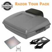 Advanblack Charcoal Pearl Razor Tour Pack Trunk Luggage For 97+ Harley Touring