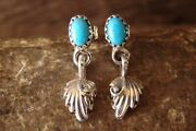 Navajo Jewelry Stamped Sterling Silver Turquoise Feather Post Earrings - Shirley