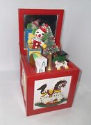 Vintage Wood Toy Chest Wind-up Music Box Christmas Clown Toyland - Great Cond.