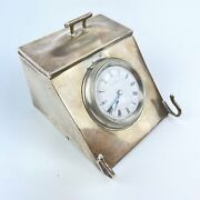 Antique Solid Silver Novelty Combination 8 Day Clock Inkwell Pen Rest Mandc Lister