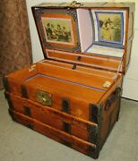 Antique Steamer Trunk Vintage Victorian Dome Top Brides Chest Full Interior Andkey