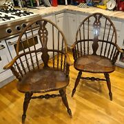 Antique Karpen Windsor Arm Chairs Original Rush Seat - Two Chairs