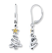 Sterling Silver Spiral Christmas Tree White And Yellow Diamond Earrings Jared Kay