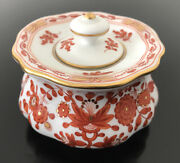 Antique 19th Century Meissen Porcelain Red Indian Lidded Dish Box Rare