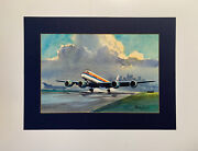 Original Watercolor Airline Airplane United Airlines Dc-8 Airport Randy Penner
