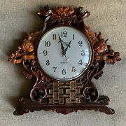Vtg Great Wall Quartz Clock - Oriental Style Carved Wooden Antique Clock