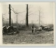 Two Men Work On Tractor Driven Saw Mill In Indiana Early 20th Cent. Press Photo