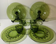Set Of 4 - Vintage Avocado Green Kings Crown Thumbprint - Snack Plate And Cup -euc
