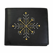 Brand New Mens Studs Black Leather Bifold Wallet 4069824