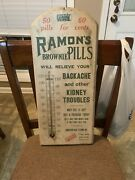 Rareantique Painted Wood Advertising Thermometer Ramons Kidney Pills