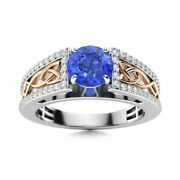 Certified 1.06 Ct Ceylon Sapphire And Si Diamond Engagement Ring 14k White Gold
