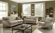 Contemporary Look Living Room Furniture Beige Fabric Sofa Set Metal Caster Legs