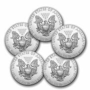 Lot Of 5 - 2014 Silver American Eagle 1 Oz. Coins .999 Fine From Tube