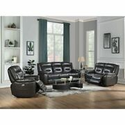 Contemporary Living Room Furniture Gray Leather Aire Power Reclining Sofa Set