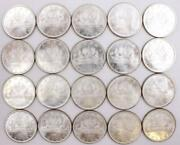 20x Canada 1965 Type-3 Silver Dollars 20-coins All Choice Uncirculated