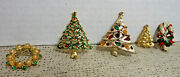 Christmas Trees Vintage-1 Avon, Wreath, Candy Cane Jewelry Brooch Pins Lot Of 5