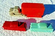 Vintage Antique 1950s Foam Magnetic Toy Truck And Cars Rare