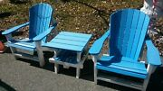 2 Adirondack Chairs And 1 Table Blue And White Composite Outdoor Furniture Trex