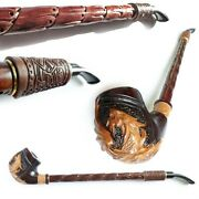 Extra Long Tobacco Pipe Dragon Churchwarden 15and039and039 Wooden Pipe With Leather