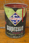 Vintage Skelly Supreme Motor Oil Metal One Quart Oil Can - Empty - No Top