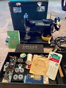 Antique Andnbspsinger Sewing Machine With Accessories 1935 Model 221-1
