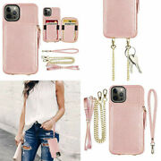 For Iphone 12 Pro Max Wallet Case Leather Crossbody Zipper Purse Cover Rose Gold