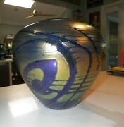 Vintage 2001 Jim Norton Art Glass Vase Blue And Gold 8 Tall Canada