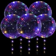 Danideer Led Bobo Balloons 18 Inch 5 Pcs Transparent Helium With String Lights