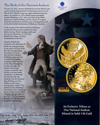 2018 Proof- Our National Anthem - 14k Mini Gold Coin - 11 Mm + American Flag 3x5