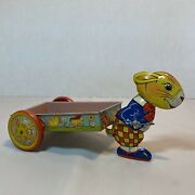 Vintage J Chein And Co All Tin Rabbit Pulling Wheeled Easter Cart