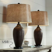 Franklin Iron Works Rustic Industrial Table Lamp With Usb Charging Port