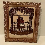 Vintage Reversed Silhouette Glass Picture Couple Under Arbor Signed Dated  01