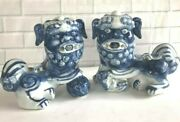 Foo Dogs Lion Guardian Chinese Ceramic Porcelain White / Blue Figurines