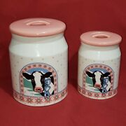 Vtg Collectible Country Farm Cow Canisters Jars Lid Set Of 2 Japan Kitchen Decor