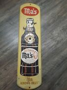 Vintage Advertsing Ma's Root Beer Soda Store Display Tin Thermometer
