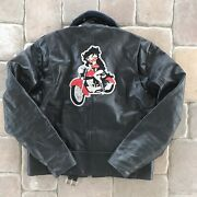 Vintage Sears The Leather Shop Motorcycle Leather Jacket Perfect Betty Boop