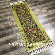 Yilong 2and039x6and039 Handmade Silk Gallery Rug Runner Hallway Kitchen Carpet Ywx094a