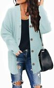 Womens Long Sleeve Button Down Cardigans Plus Size Open Front Chunky Loose Knit