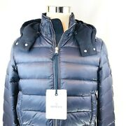 Moncler Riom Quilted Down Wool Trim Full Zip Hooded Jacket Men Size 2 Medium Nwt