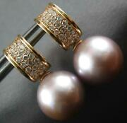 .43ct Diamond And Aaa Pink South Sea Pearl 18kt Rose Gold Huggie Hanging Earrings