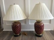 Pair Winterthur Oriental Accents Asian Gold Rust Decorative Table Lamps/shades