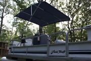 New Vortex 4 Bow Pontoon Boat Bimini Top 10and039 Long Navy Blue 91-96 Wide