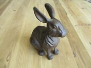Large Cast Iron Rabbit Easter Bunny Garden Statue Rustic Home Decor 7 Country