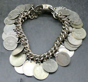 Antique Vintage Coin Gypsy Type Charm Bracelet Silver Loaded Us And Foreign A21