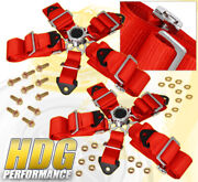 For Audi 3 5 Point Harness Cam Lock Seat Belt Support Strap Euro Dtm Kit Red